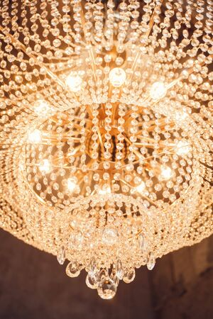 hanging bright chandelier with crystals