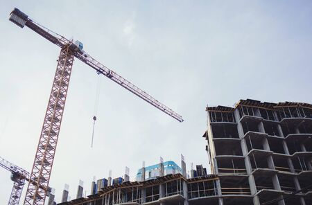 tower crane on the construction site of the new district