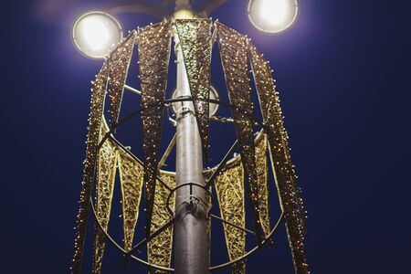 vintage street lamp on background of the night sky at Christmas