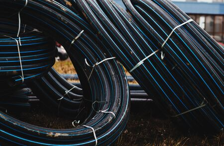 Electrical cable, energy and technology equipment on construction site