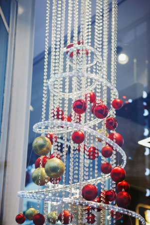 Christmas composition-decorated tree with hanging balls