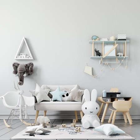 Interior Kids Room Wall Mockup - 3d Rendering, 3d Illustration