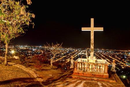 holguin: Night view of the city of Holguin, Cuba, from the Loma de la Cruz. Stock Photo