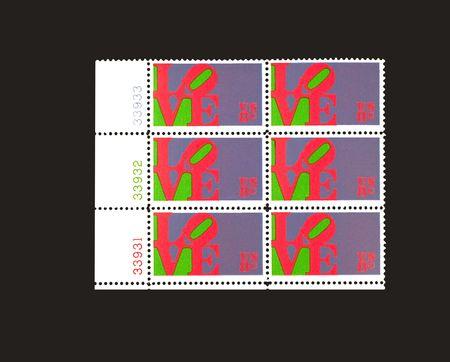 Plate Block of US Love Stamps Фото со стока