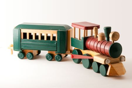toy: Woodent Toy Train Engine and Car Stock Photo