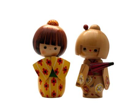 Kokeshi Dolls isolated on white
