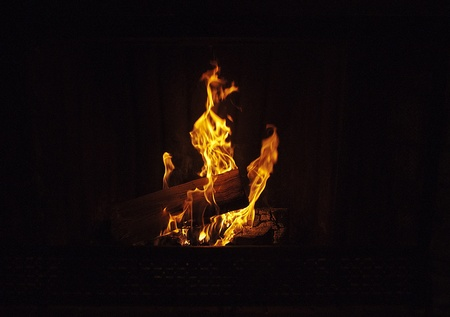 Flames in cabin Fireplace Imagens