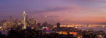 seattle: Horizonte de ciudad de Seattle en Navidad. Washington, Estados Unidos