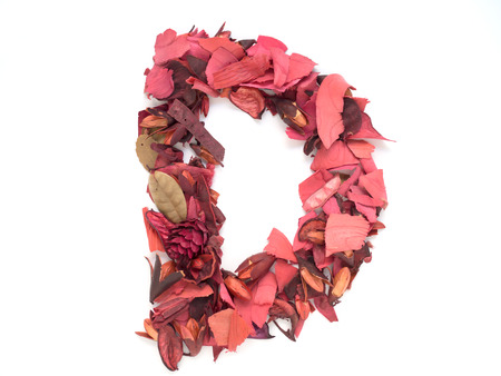 d: Isolated letter D - capital alphabet made from dry red flower petals
