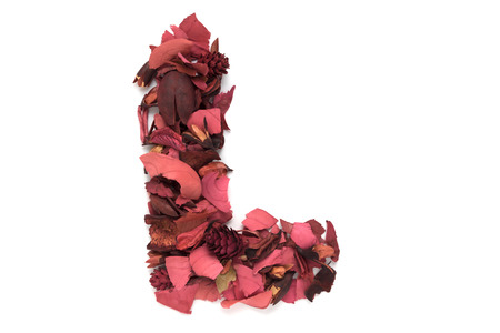 l natural: Isolated letter L - capital alphabet made from dry red flower petals Stock Photo