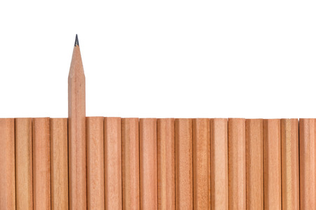 divergence: Sharp pencil stand out of groupd of brown pencils on white background - business concept of leader