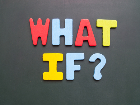 what if: What If? wording - colorful uppercase letter what if on blackboard Stock Photo
