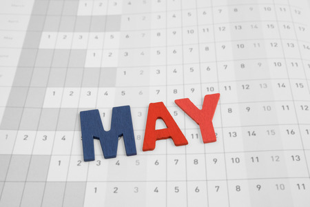 uppercase: May - month on calendar paper - colorful uppercase letter Stock Photo