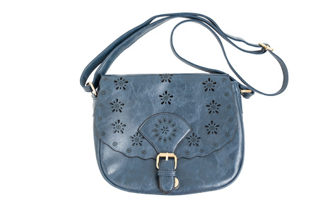 shoulder bag: Isolated dark blue woman shoulder bag - isolated blue girl purse on white background