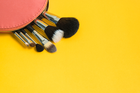 make up brushes: Set of different make up brushes in a pink cosmetic bag on bright yellow background