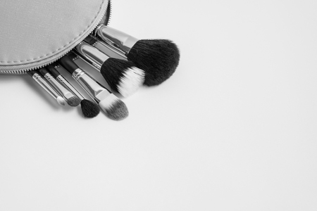 make up brushes: Set of different make up brushes in a pink cosmetic bag in black and white color Stock Photo