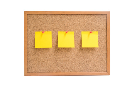 pin board: Isolated wooden board with three yellow sticky notes pin on the board