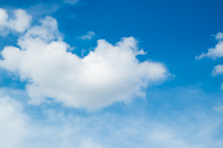 noon: Cute fluffy cloud on a sunny blue sky day nature background