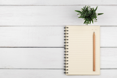Top view of empty line paper notebook with brown pencil and plant on white wooden background