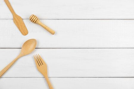 Top view of wood kitchen utensil on wooden table background Stok Fotoğraf