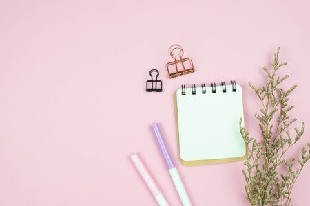 Top view of empty notebook with colored pens, paper clip and white caspia flower bouquet on pastel pink background