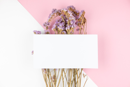 Cute dried violet statice flower with white card on top on light pink and white background