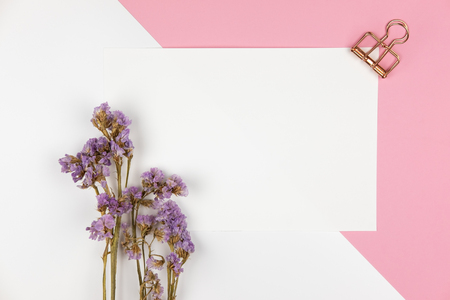 Top view of white empty paper with paper clip and violet statice flower bouquet on pastel white and pink background
