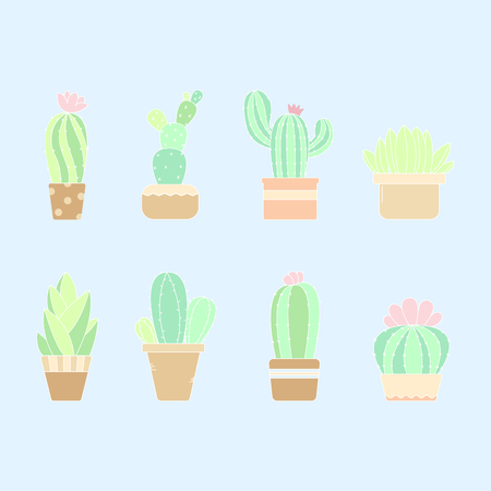 Cute pastel hand drawn cactus plant in the pots - Vector Illustration