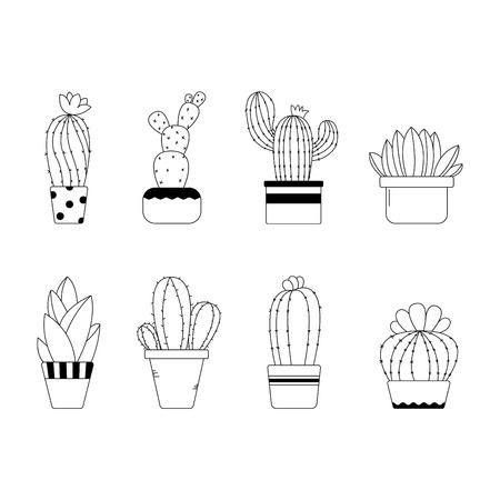 Cute hand drawn line cactus in the pots in black and white - Vector Illustration