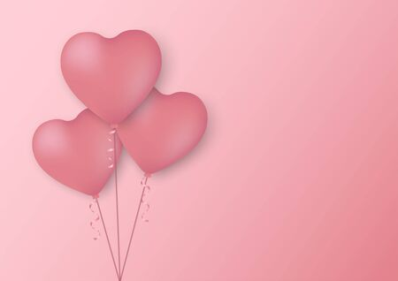 Heart shaped balloons on pink background for Valentine's Day Çizim