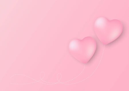 Heart shaped balloons on pink background