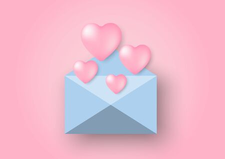 Heart shaped balloons floating out of an envelope Çizim