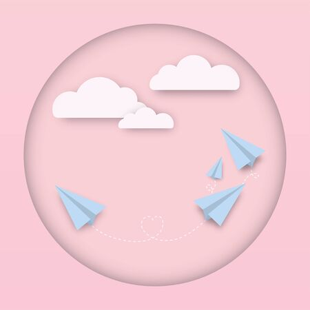 Blue paper plane flying on pink sky with heart and cloud