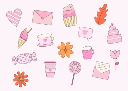 Valentine elements with heart, candy, ice cream, cupcake, wedding cake, coffee cup, tea cup, mug, letter, envelop and flowers