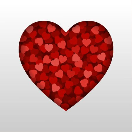 A small red hearts in heart shape frame on white background. Concept of Love and Valentine's Day. Çizim