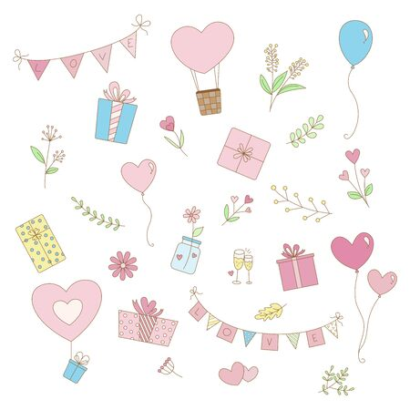 Set of cute pastel valentine elements with hearts, balloon, flowers, leaves, gift box. Isolated items on white background.