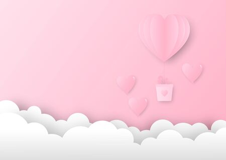 Pink paper heart shape balloon hanging a pink gift box floating in the sky. Concept of love and Valentine's Day. Çizim