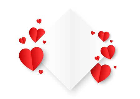 A white square paper cut style surround by red paper heart shape on white background. Concept of love and Valentine's Day.