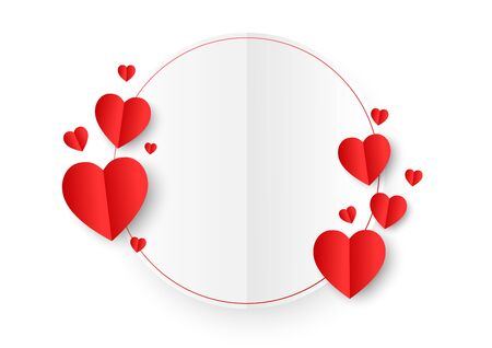 A white circle paper cut style surround by red paper heart shape on white background. Concept of love and Valentine's Day.