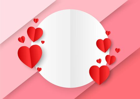 A white circle paper cut style surround by red paper heart shape on colorful pink and red background. Concept of love and Valentine's Day. Çizim