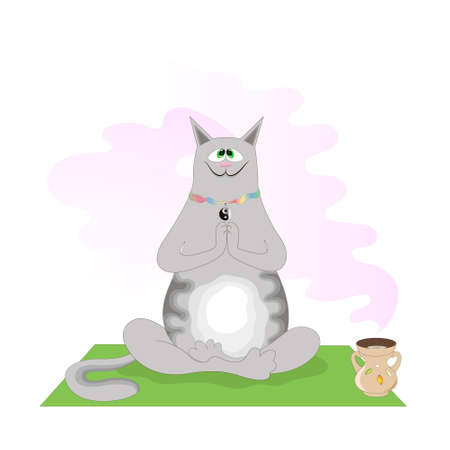 Zen-learned cat meditates on a yoga mat among the scent of incense Illustration