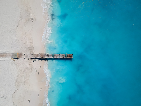 Drone photo of pier in Grace Bay, Providenciales, Turks and Caicos