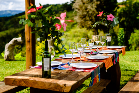 Table set for family in beautiful location. Wooden table, flower decoration, garden setting, sunny day. Cunha, So Paulo.
