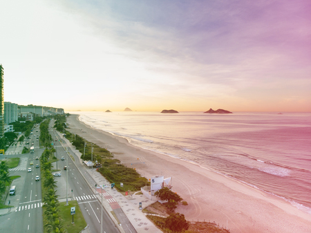 Drone photo of Barra da Tijuca beach with Ilhas Tijucas and Cagarras in the background, Rio de Janeiro
