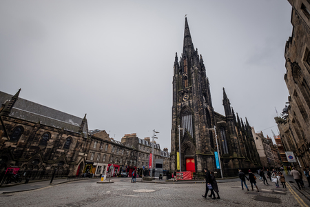 EDINBURGH, SCOTLAND - April 2017: The hub, seen from the Royal Mile in the Old Town in Edinburgh Scotland. The Royal Mile is the most popular attraction in Edinburgh and hosts many tourists.