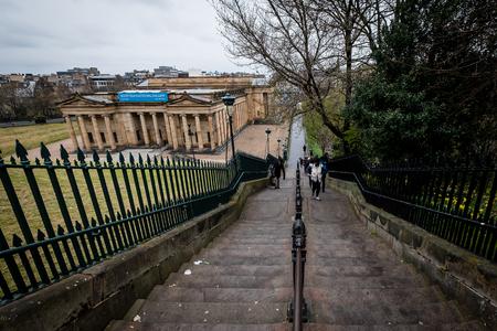 EDINBURGH, SCOTLAND - April 2017: Large stairway leading to the Scottish National Gallery in the Prince Street Garden, Edinburgh, Scotland