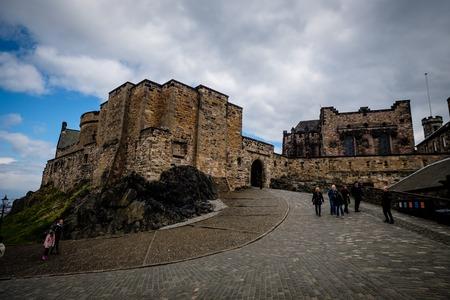 Edinburgh, Scotland - April 27, 2017: View of main building from the inside of the Edinburgh Castle, in Scotland, UK