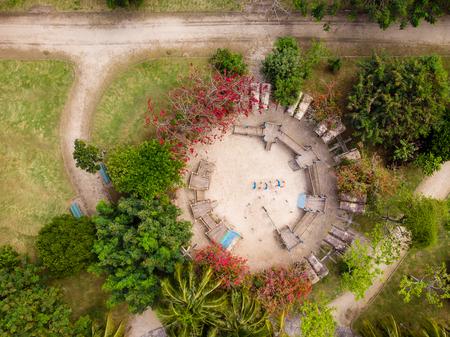 aerial view of park in Barra da tijuca, Rio de janeiro. Drone pov indicates geometric shapes and patterns. 版權商用圖片