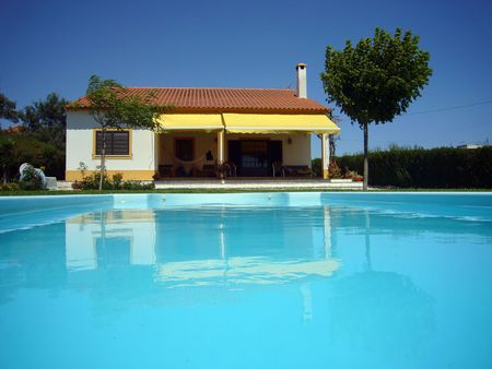 house with swimming pool Stock Photo