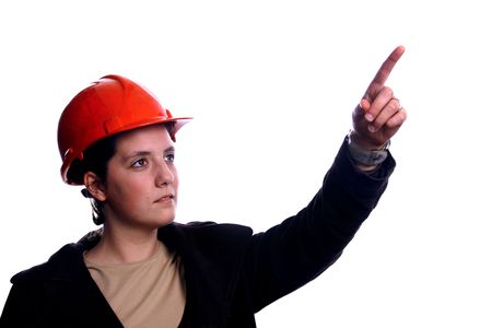 architect woman pointing over white background Stock Photo - 2923521
